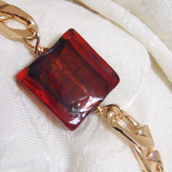Garnet and Gold bracelet - large chunk, chunky style gold chain with dimensional garnet glass square bead