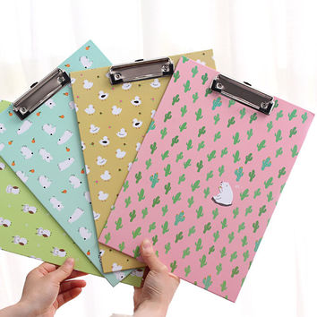 1PC Colorful A4 Clipboard Writing-board Files With Clip Student Stationery Supplies Paper Racks