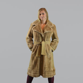 70s Vintage Tissavel Faux Fur Coat/ Button up with Tie Belt/ Made in France