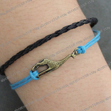Giraffe Bracelet-charm bracelet-blue rope, black leather braelet