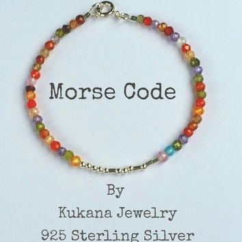 SISTER morse code bracelet, CUSTOM morse code bracelet, secret message morse code bracelet, gemstones, sterling silver gold filled, gift