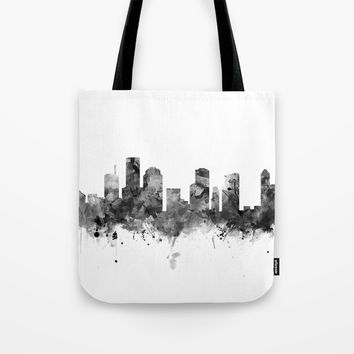 Houston Skyline Black and White Tote Bag by monnprint