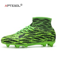 APTESOL Men's FG High Ankle Socks Boots Soccer Shoes for Men Youth Kids Soccer Cleats Sneakers Outdoor Long Spike Football Boots