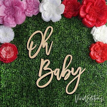 """36"""" wide 'Oh Baby' X-Large Baby Shower Backdrop Sign, Wood or Acrylic"""