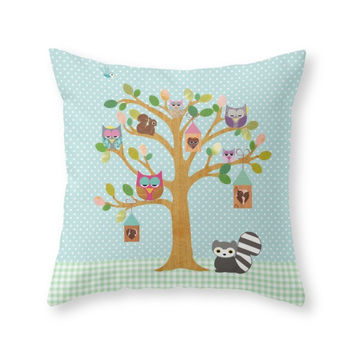 Society6 Happy Tree With Throw Pillow