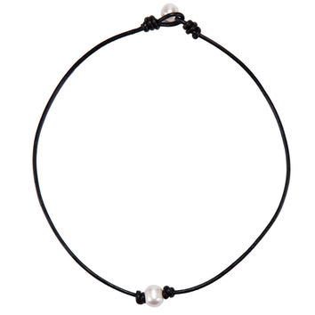 YAN & LEI Hot Sale Freshwater Single Pearl Choker Necklace on Genuine Black Leather Cord Jewelry for Women