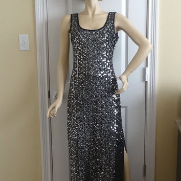 1970s Vintage Silver Sequins Evening Dress by S. Eisenberg, California, Size 12, Disco Party Dress, Vintage Clothing, Vintage 1970s Fashion