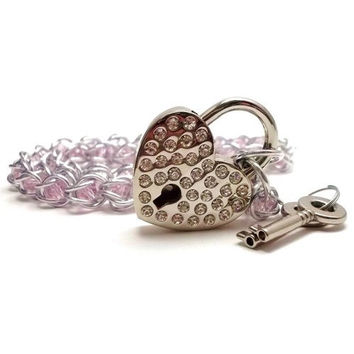 Slave Collar Pink Captive Crystals with Rhinestone Studded Heart Lock