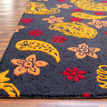 Paisley Blue 5 x8 Handmade Floral Persian Style Wool Area Rug