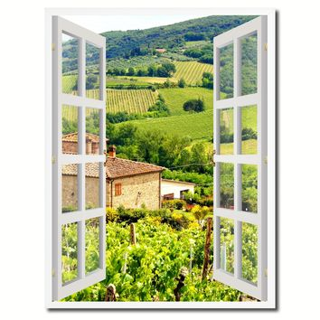 Wine Vineyards Tuscany Italy Picture French Window Canvas Print with Frame Gifts Home Decor Wall Art Collection