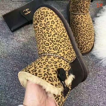 UGG high quality new fashion leopard print keep warm shoes boots women