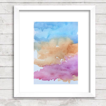 Original Abstract watercolor painting, Nursery Art Print, pink and blue Art, matching wall art, contemporary print, serene painting