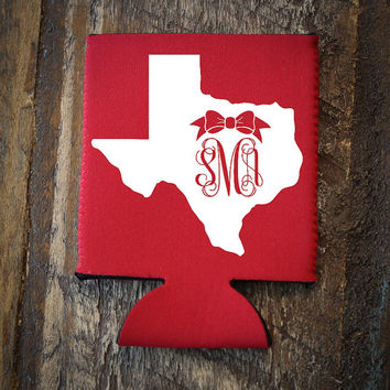 Custom Bow Monogram Koozie - Any State - Texas, New York, South Carolina, Alabama, Georgia, etc.