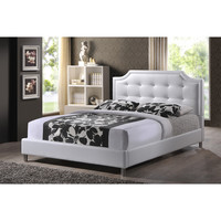 Carlotta White Modern Bed with Upholstered Headboard | Overstock.com Shopping - The Best Deals on Beds