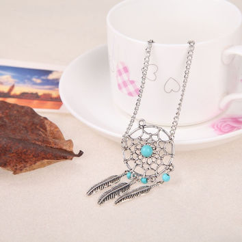 Women's Fashion Dreamcatcher Bracelets Leaf Bohemian Alloy Vintage Friendship Jewelry (Size: 20 cm, Color: Silver)