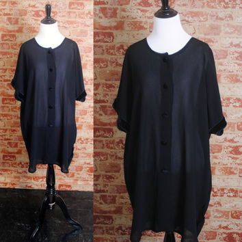 Vintage 1990s Black SHEER short sleeve over size oversized GRUNGE tunic button down shirt blouse