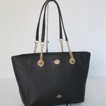 New Coach Turnlock Chain Tote Black Leather Shoulder Bag 57107
