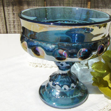Blue Carnival Glass Indiana Glass Kings Crown Compote