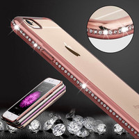 Luxury Bling Diamond Frame Transparent TPU Case For Iphone 6 6S 4.7/ Plus 5.5 / 7 / 7 Plus Soft Silicone Cover Plating Rose Gold