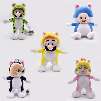"Super Mario party nes switch New Hot 5 Styles 7.5""-9.5""  Bros Plush Doll Cat  Luigi Toad Peach Rosalina Dolls Kid's Gifts Stuffed Soft Toys AT_80_8"