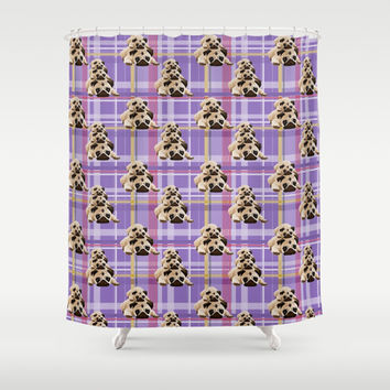 Pugs on Purple Plaid Shower Curtain by pugmom4