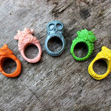 Vintage Plastic Monster Halloween Rings - Kitsch - Childrens