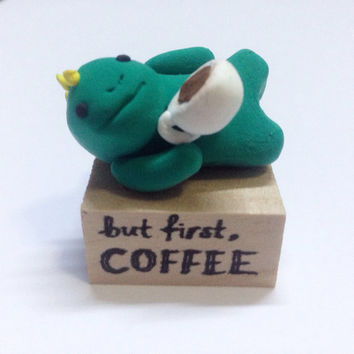 But First, Coffee Dinosaur Figurine Collectible, Polymer Clay Dinosaur, Coffee Quote, Kawaii, Coffee Lover, Coffee Cup, Green Dino