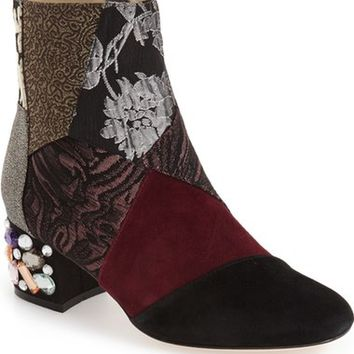 Bettye Muller 'Cyd' Bejeweled Mixed Finish Bootie (Women) | Nordstrom
