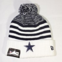 New Era Snowfall Stripe Cuffed w/ Pom Knit/Beanie Hat Dallas Cowboys!!