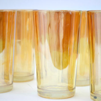 8 Vintage Marigold Peach Luster Tumbler Drinking Glasses, Cocktail Garden Party