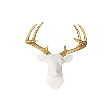 Mini White + Gold Fake Taxidermy Deer Head | Free US Shipping & Hassle-Free Returns