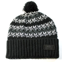Nike SB Men's Cuff Fold Pom Black/Gray Beanie Hat One Size