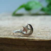 Hoop Earring Sterling Silver Moon & Star