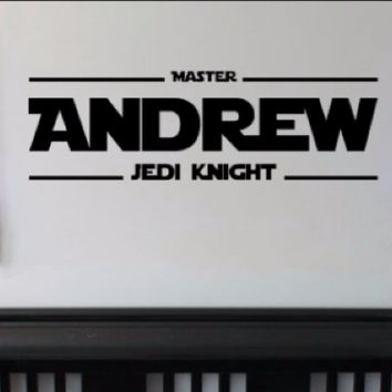Personalized Star Wars Master Jedi Knight Name Decal