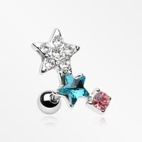 Shooting Stars Sparkle Cartilage Tragus Earring