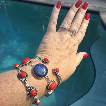 Lapis and coral bracelet