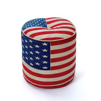 Round Anthem Pouf with Patriotic