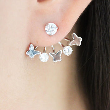 Silver butterfly ear jackets, butterfly ear cuff, butterfly earrings, butterfly stud earrings, silver butterfly earrings, daily jewelry