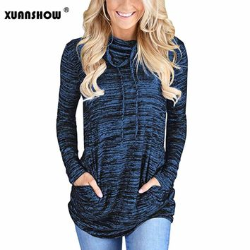 XUANSHOW 2018 Fashion Women's Hoodies Clothes Cowl Neck Long Sleeve Casual Tunic Sweatshirt Tops with Pockets Sudadera Mujer 3XL