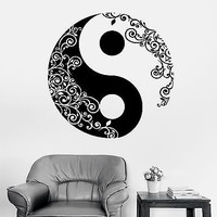 Wall Sticker Buddha Yin Yang Floral Yoga Meditation Vinyl Decal (z2897)