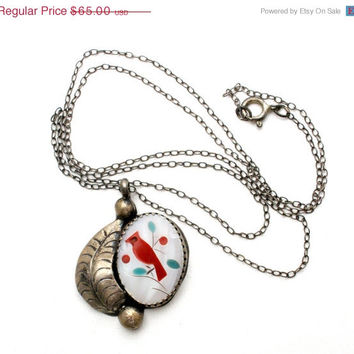 Sale Bird Necklace, Sterling Silver, Carved Mother Of Pearl, Coral, Turquoise, Red Cardinal Pendant, Southwestern Jewelry, Figural Jewellery
