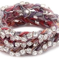 "Ettika ""Vintage Ribbon"" Silver Rhinestone Rainbow Wrap Tennis Bracelet - Like Love Buy"