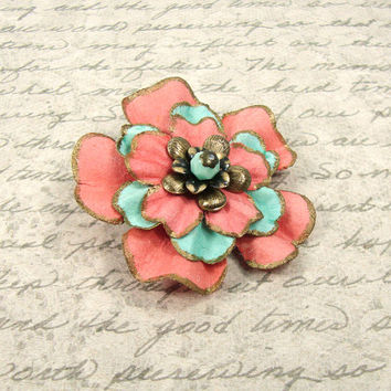Vintage Style Mint and Coral Floral Hair Clip - Coral and Mint Flower Wedding Hair Clip - Antique Brass - Bronze Hair Accessories