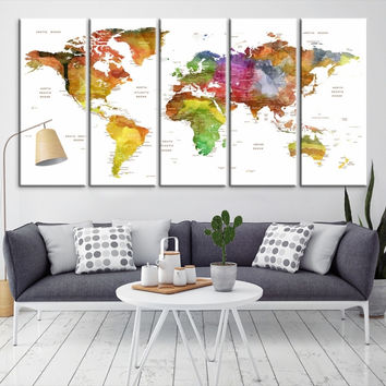 13446 - Large Wall Art World Map Canvas Print- Custom World Map Push Pin Wall Art- Custom World Map Canvas Poster Print- Personalized Wall Art