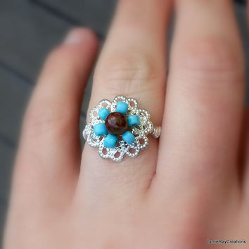 Boho Silver Wire Wrap Filigree Flower Ring in Blue Seed Beads and Pietersite, Silver Filigree Ring, Bohemian Hippie Ring, Woven Beaded Ring