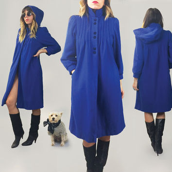 Vintage 1960's 1970's FRENCH Persian Blue Wool Hooded Coat || Made In Paris || Size XS Small || Size 2 to 4