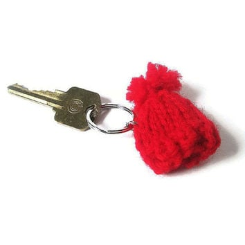 Red Hat Keychain Charm – Hat Key Ring - Backpack Charm – Back to School Pencil Case Charm - Purse Charm – Small Winter Hat Charm Keychain