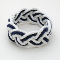 Nautical Bracelet White and Navy Cotton Sailor Knot