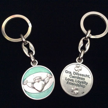 Love Loyalty Friendship Irish Claddagh Key Chain Medal Silver Key Ring Gift Inspirational Jewelry