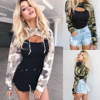 Spring cutout cropped hoodies